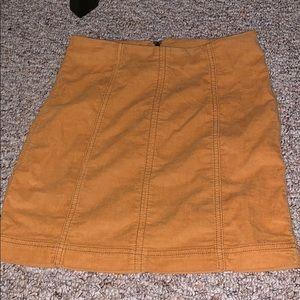 Yellow corduroy skirt